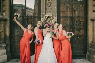 Bold Red Willow multiwy dresses for Jenni's bridesmaids
