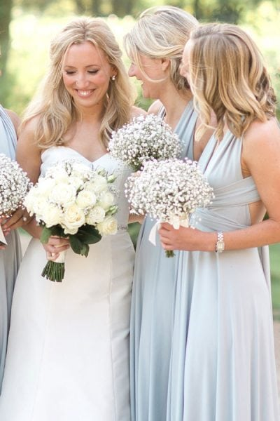 Charlie choose Dove Grey multiway dresses for her bridesmaids