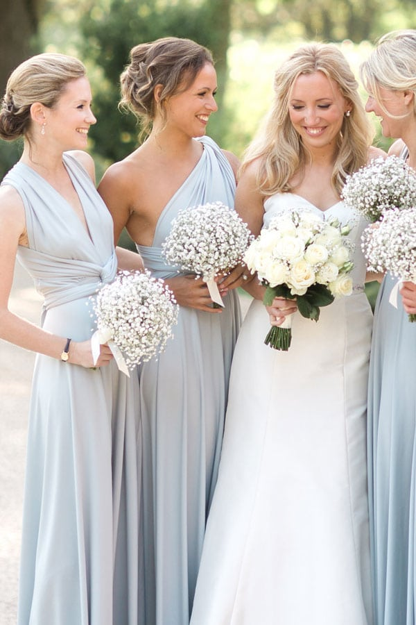 Charlies' bridemaid all wore their Dove Grey multiway Willow dresses in different styles.