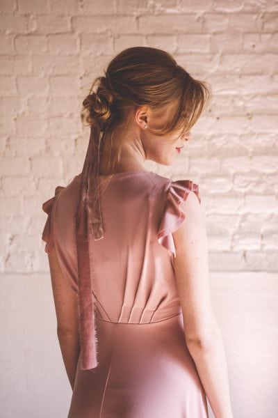 Designer bridesmaids dress with custom choice of sleeves in Dusky Pink colour.