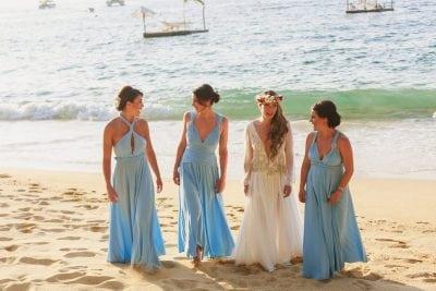 Dream destination wedding in Mexico with Powder Blue bridesmaids dresses.