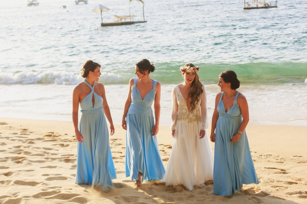 Dream destination wedding in Mexico with Powder Blue bridesmaids dresses.
