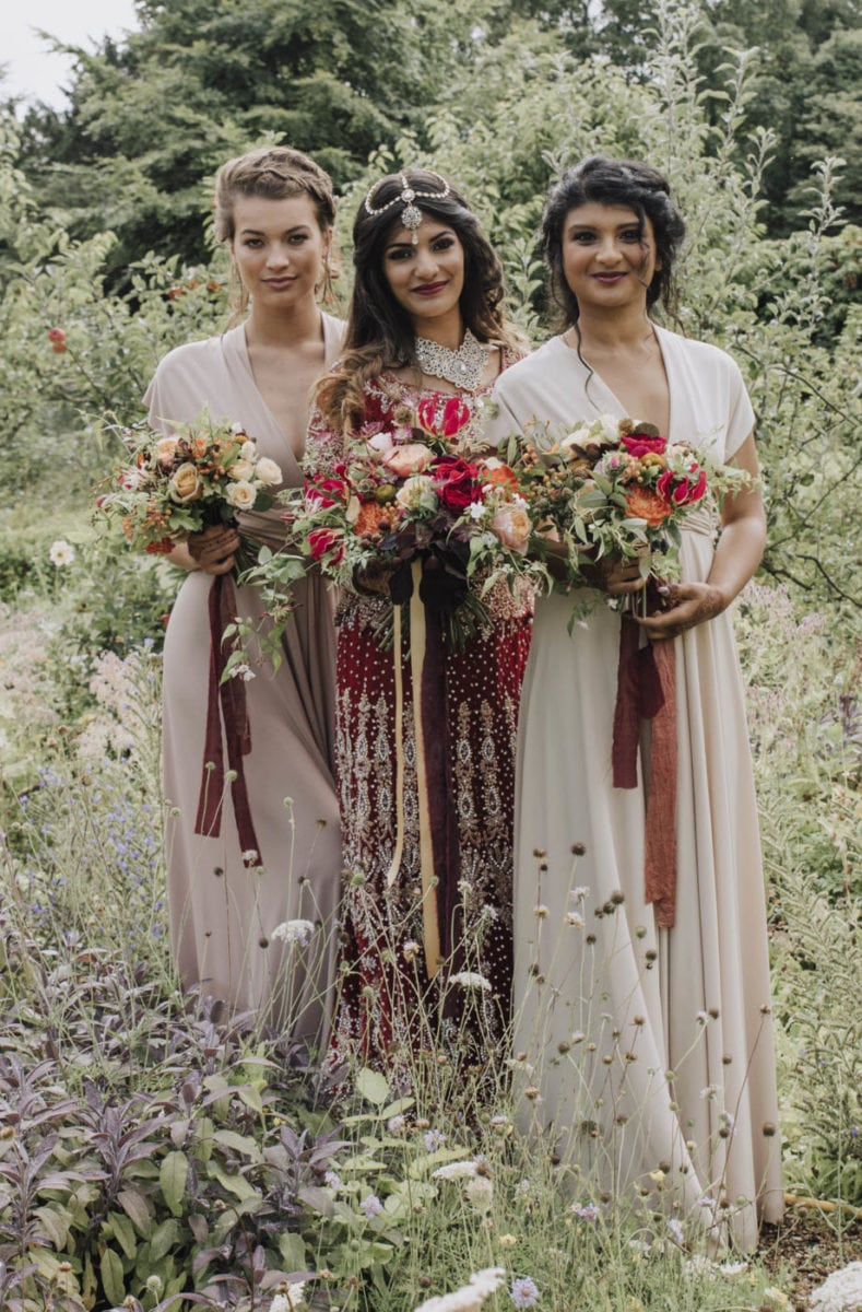 Full length multiway bridesmaids dresses in Cappuccno and Biscuit colours