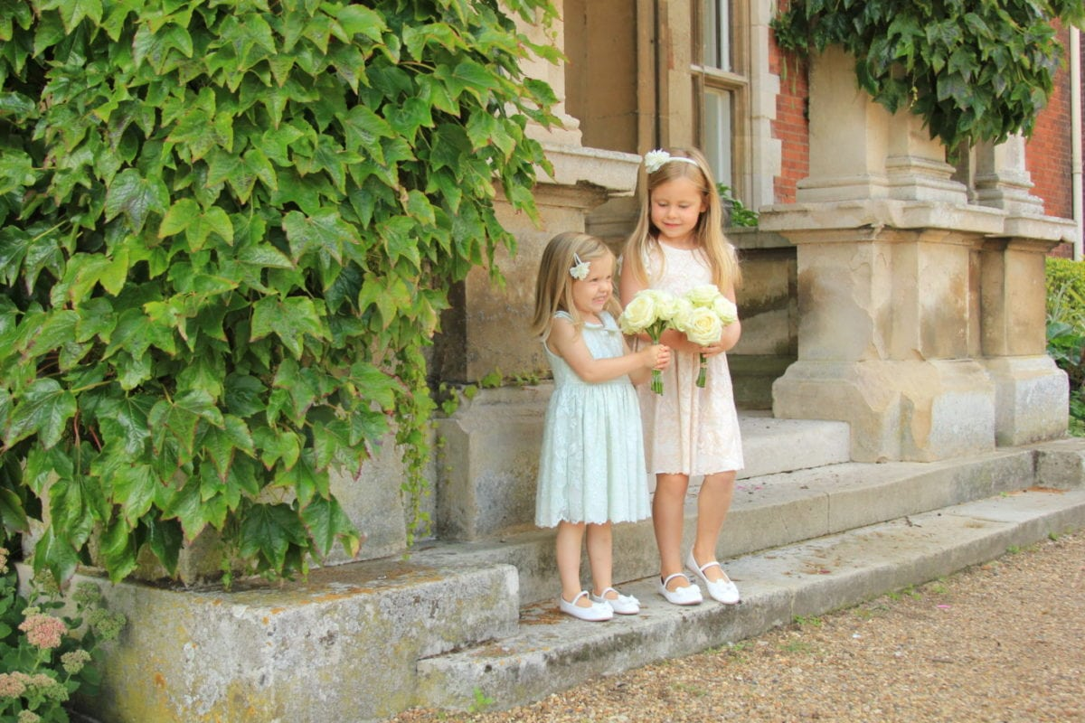 Lace flower girl dresses in Sage green and Blush pink
