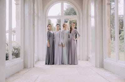 Long sleeve & three quarter length sleeve dresses. Perfect for winter and Autumn weddings and special occasions.