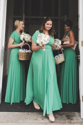 Lynne chose Emerald green dresses for her Irish wedding.