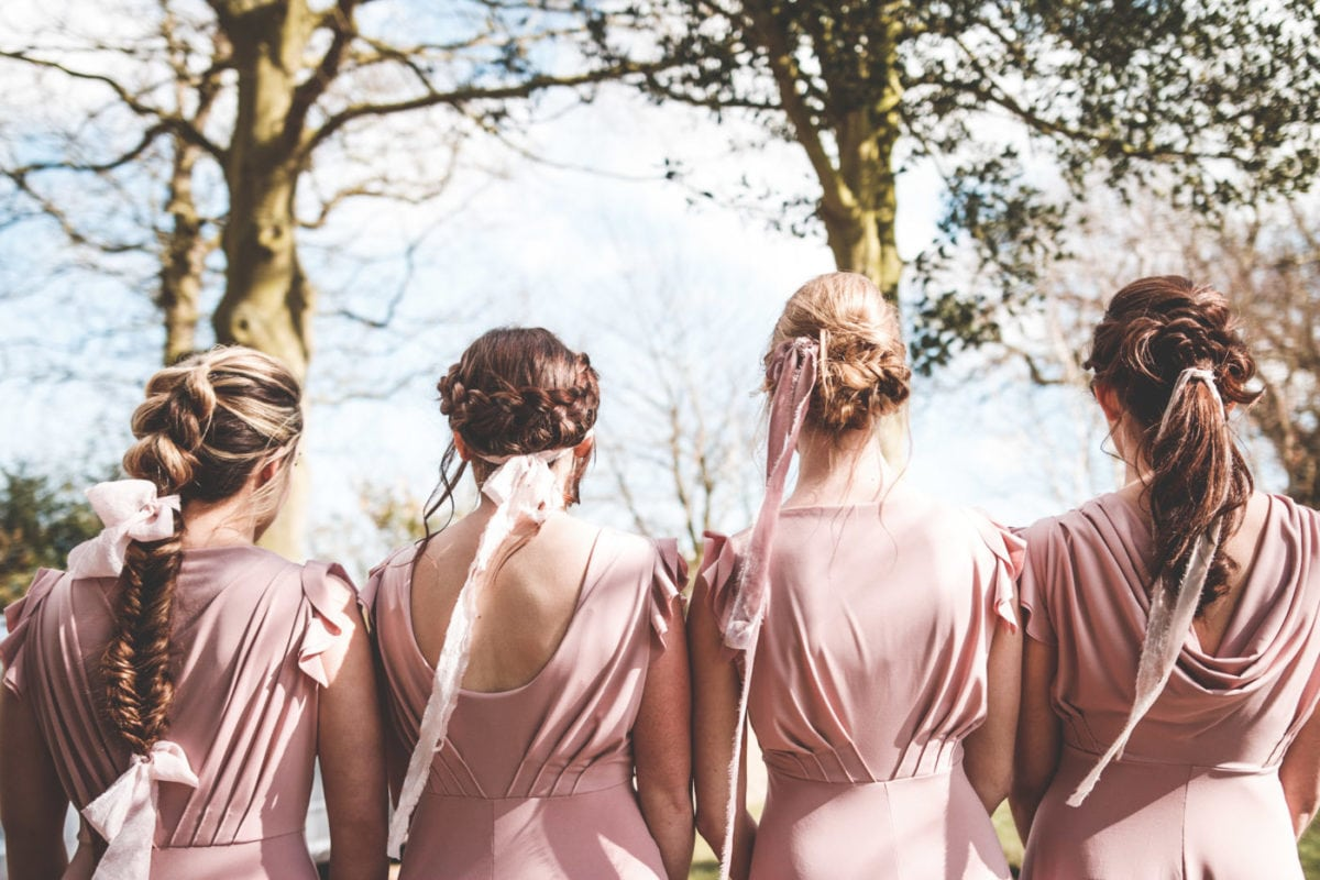 Mix and match bridesmaids dresses in Dusky Pink