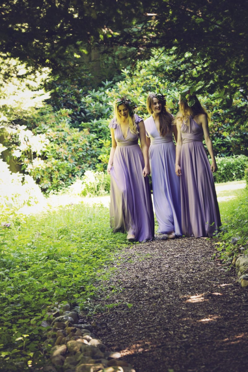 Pale purple Wisteria Willow multiway dress and Heather colour dresses for a dark and romantic forest shoot.