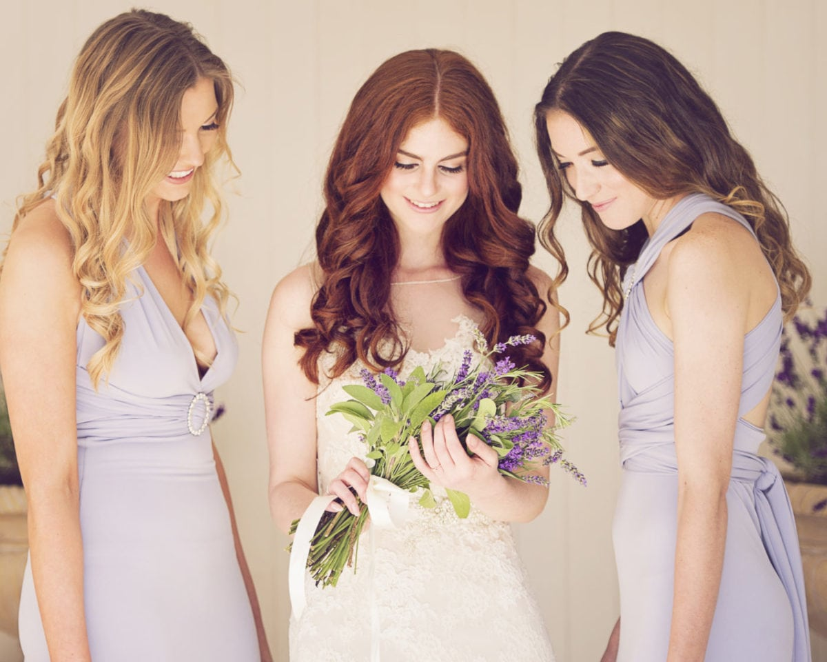 Pearl fitted multiway bridesmaids dresses in Periwinkle pale blue.