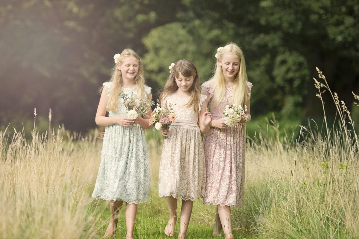 Rosie lace flower girl childrens dresses in Sage, Blush and Dusky Pink colours.