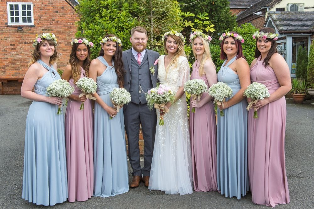 Sally's mix and match bridesmaids in Dove Grey and Dusky Pink multiway dresses
