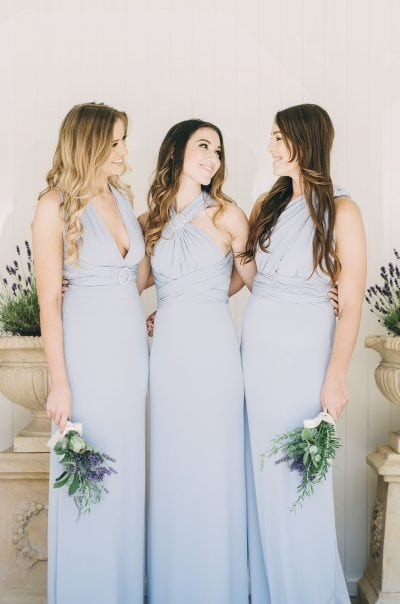 Sleek fitted multiway Pearl dresses in Periwinkle dusty blue colour. Accessorised with Endless love strap sliders
