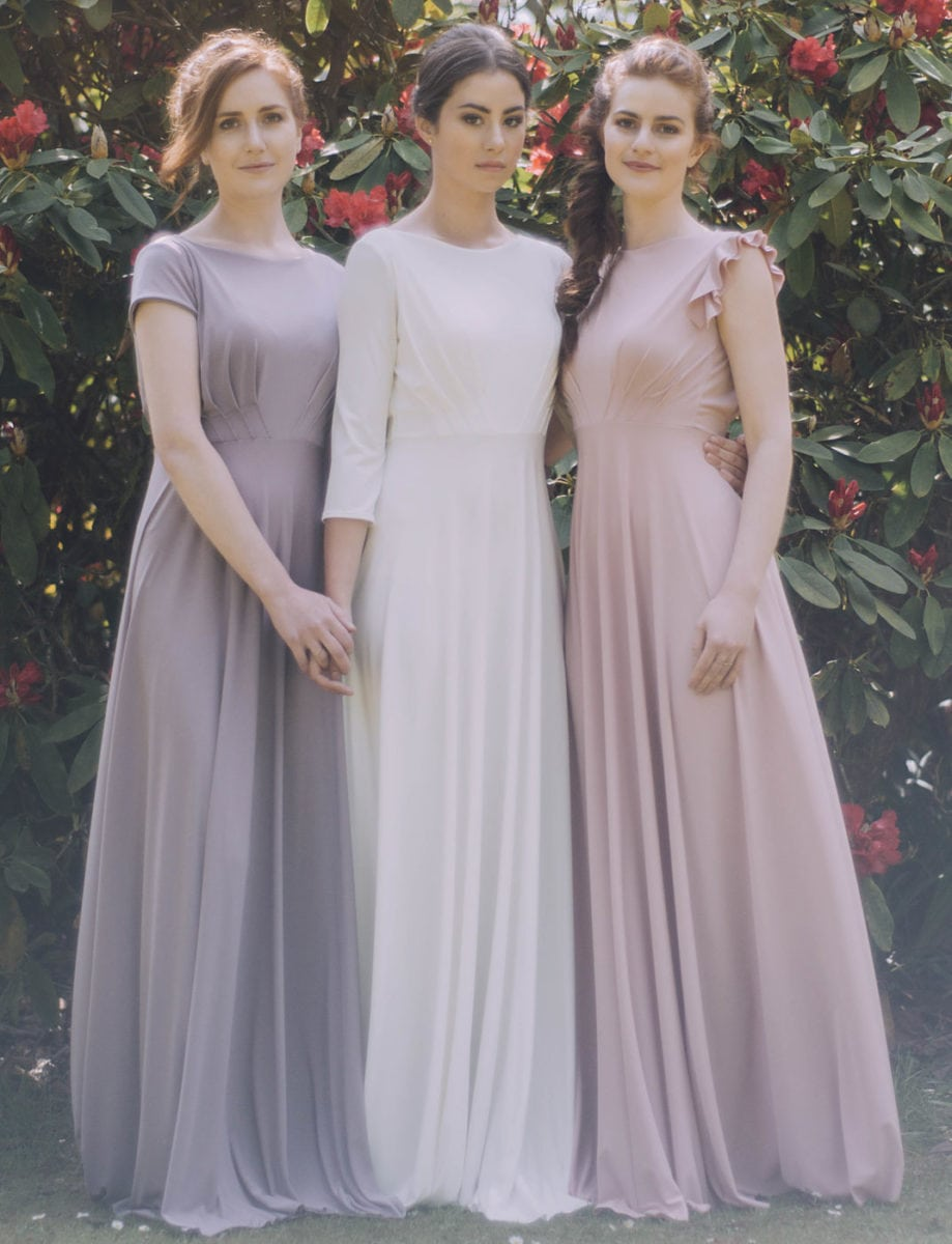 Temple bateau neck dress with 5 different sleeve options. Shown here in Heather, Ivory, and Dusky Pink