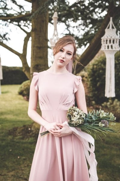 Temple bridesmaids dress in Dusky Pink with ruffle sleeves