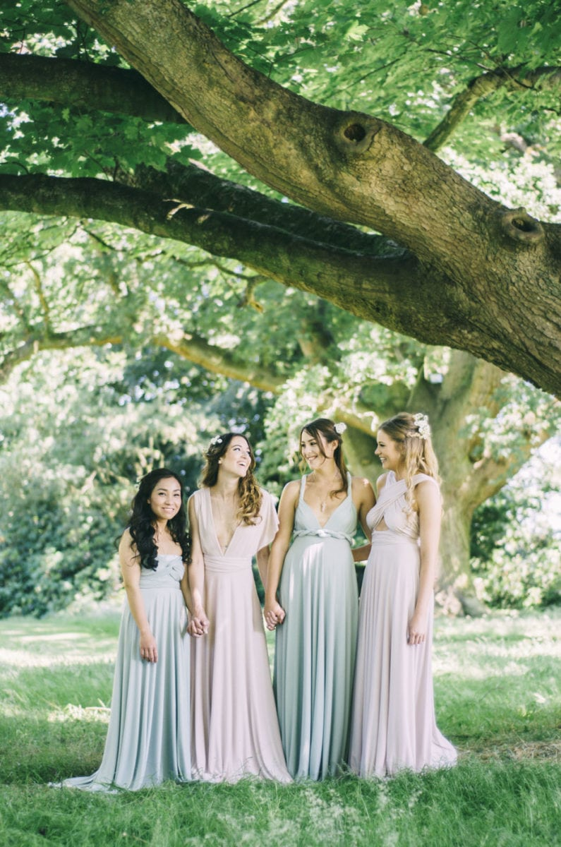 Willow multiway bridesmaids dresses suit all shapes and sizes. Sage green and Blush pink.